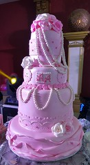 pink wedding cake (Divine Cakes Iloilo) Tags: city pink wedding roses cakes cake dc cafe lace pearls divine iloilo debut roxas fondant bakeshop
