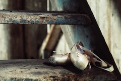 retired (s@ssyl@ssy) Tags: shoes ballet worn torn used abused pink satin ribbon old tattered shabby barn stairs steps vintage barnboard 1860 he love ballerina slippers an amazing
