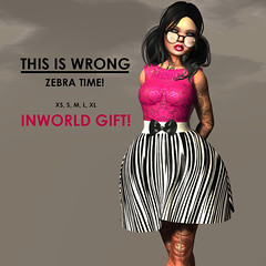 THIS IS WRONG Zebra time GIFT! (This is Wrong SL - Fashion Blog and Store) Tags: this is promo dress mesh sale top free skirt wrong size gift zebra sheer freebie