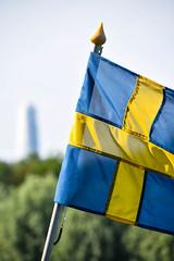 Swedish flag (Maria Eklind) Tags: park city summer flower nature se photo skne sweden outdoor sverige vernissage malm turningtorso pildammsparken skneln pildammstornet