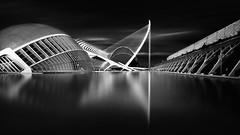 The black city (Anto Camacho) Tags: bridge blackandwhite valencia buildings puente cityscape calatrava cac comunidadvalenciana longexpoure valenciancommunity cityandarchitecture