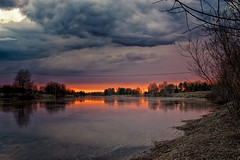 Springtime Sunset By The River (k009034) Tags: 500px weed copy space finland matkaniva oulainen outdoors pyhajoki tranquil scene branches clouds countryside evening nature no people reflection river rural sky springtime sunset trees water teamcanon copyspace tranquilscene nopeople