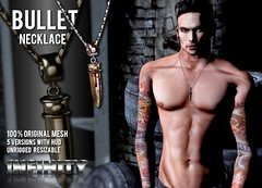 !NFINITY Bullet Necklace - Boys of Summer Exclusive (infinity.owner) Tags: life original summer boys fashion spider necklace blood dragon mesh avatar nation fair jewelry sl event secondlife pentagram second bullet bos plain depraved accesoires nfinity