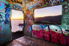 hawk hill lookout (hbphototeach) Tags: approved hawk hill marin headlands sausalito bay area california sunset graffiti abandoned disrepair lookout military sf pacific