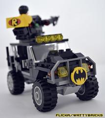 Bat Jeep w. Batman & Robin (WattyBricks) Tags: lego dc comics superheroes batman robin dark knight gotham bat vehicle