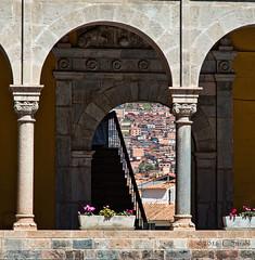 View of Cusco (cheryl strahl) Tags: peru cusco conventodesantodomingo church view hillside houses pillars stonework