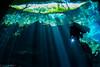 Kukulcan Cenote (jcl8888) Tags: challengeyouwinner mayan natural nature mexico yucatán silouhuette diver underwater cavern cave cenote scuba lightbeams freshwater adventure light green blue nikon d7200 tokina 1017mm fisheye wideangle travel kukulcan