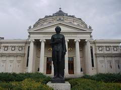 Statue of Romanian poet Mihai Eminescu in front of the Athenaeum-Concert Hall,Bucharest (sentsim) Tags: romani travel bucharest
