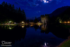 the moon in the lake (Tiziano Photography) Tags: moon lake grassoney lakegover night light sky reflections water mountains valledaosta italy landscape luna lago montagne riflesso cielo panorama notturno