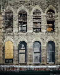 """""""The Kobacker Building"""" (D A Baker) Tags: kobacker building boarded up covered rundown mansfield ohio street photography window windows plywood prior urban downtown cafe main rough better days"""