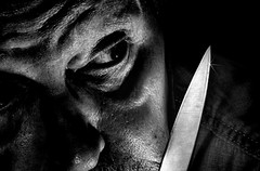 """""""You're a very nosy fellow, kitty cat. Huh? You know what happens to nosy fellows? Huh? No? Okay. They lose their noses."""" (Wes Iversen) Tags: people men selfportraits knives macros hmm filmnoir selfies tokina100mmf28atxprod macromondays hmam favoritequote meagainmonday"""