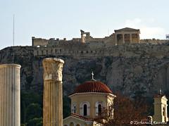 The Acropolis as Seen from Monastiraki, Athens, Greece (Zacharoula Kavvada) Tags: church sightseeing athens greece monuments pillars touristattraction antiquity orthodoxchurch monastiraki theacropolis