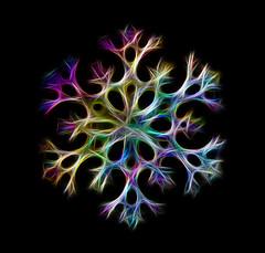 Psychedelic Snowflake (Karen_Chappell) Tags: snowflake blue stilllife black macro green yellow colours purple digitalart colourful