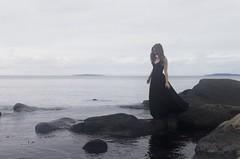 KajsaE2 (digitalbildprod) Tags: ocean blue sea woman black cold beach water girl beautiful face stone hair evening cool nice model soft dress sweden stones walk awesome dream cecilia eriksson hav karlskrona kajsa enkajsa