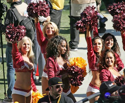 Redskinette Cheerleaders Brianne, Kirsten, Taylor, Priscilla, and Maya show their pride.