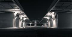 Clinical desertion (Chin Li Zhi) Tags: road urban blackandwhite monochrome night concrete lights twilight singapore industrial alone illuminated carpark deserted isolated x100 fujfilm x100s
