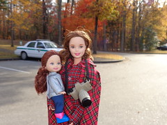 Kings Mountain Mommy and Daughter (larry_boy17) Tags: park camera trip autumn vacation mountain leaves car shirt vintage outside outdoors kid war doll ranger dolls child getaway military mommy daughter mother ken barbie battle kings national wallace kelly battlefield plaid revolutionary belinda