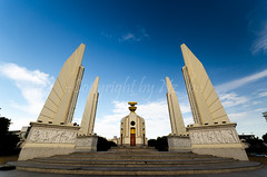 thai democracy monument 3 (Nz_b) Tags: road street old city sky urban white monument architecture clouds thailand democracy asia cityscape exterior traffic bangkok capital nation landmark journey thai constitution politic