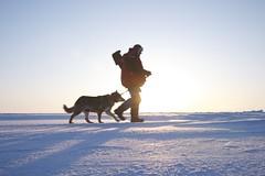 paul ramsden and brownie P1000842 (www.AlastairHumphreys.com) Tags: snow canada expedition science arctic polar