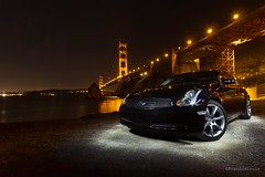 G35 x Golden Gate Bridge (brandon_louie) Tags: sf sanfrancisco longexposure beautiful car pretty tokina goldengatebridge bayarea g35 infiniti lazyshutter