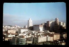 ms1950s AA-93 (ndpa / s. lundeen, archivist) Tags: sf sanfrancisco california ca city color building film fog skyline clouds buildings view nick hill slide bluesky 1950s sanfranciscobayarea bayarea 1957 sfbayarea kodachrome dewolf hotelhuntington nickdewolf photographbynickdewolf
