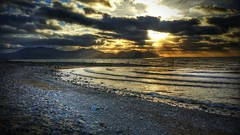uk sunset sea sunlight beach wales clouds waves stones cymru hdr irishsea northwales llynpeninsula dinasdinlle samsungnote3