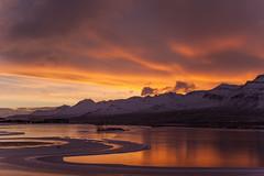Yesterday morning (*Jonina*) Tags: iceland ísland faskrudsfjordur fáskrúðsfjörður morning morgunn sunrise sólarupprás reflection speglun pond tjörn sky himinn clouds ský mountains fjöll sandfell winter vetur jónínaguðrúnóskarsdóttir 25faves 50faves 500views 1000views