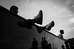 * (Sakulchai Sikitikul) Tags: street leica bw reflection silhouette thailand athletics sony streetphotography snap summicron songkhla stretching asph hatyai a7s