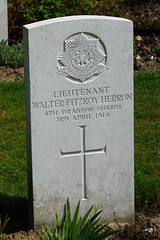 W.F. Herron, Dragon Guards, 1916, War Grave, Etaples (PaulHP) Tags: etaples military cemetery france ww1 great war cwgc headstone walter fitzroy herron lieutenant 3rd april 1916 4th dragoon guards royal irish mentioned depatches ellen janson newdigate place dorking george twickenham boer formosa lodge wool merchant duke cambridge yeomanry accidently killed world one grave