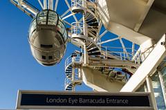 London Eye (Bertie Oakes) Tags: london wheel architecture poster design pod graphic londoneye bluesky stairwell southbank mf striking nikkor28mmf28ai nikond7000 barracudaentrance