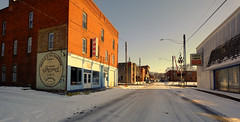 Snowy Streets of Dallas City, IL (Bob G. Bell) Tags: winter ford vintage advertising illinois midwest il dallascity fordmotots