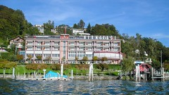 Hermitage Hotel with Boat Station on Lake Lucerne, Central Switzerland (jag9889) Tags: lake station hotel schweiz switzerland europe waterfront suisse suiza lodging luzern 2006 terminal alpine kayaking boathouse svizzera paddling lucerne ch vierwaldstttersee kayaker lakelucerne innerschweiz zentralschweiz centralswitzerland y2006 stadtluzern 20061009 kantonluzern cantonlucerne jag9889