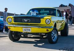 Gasser Mustang (scott597) Tags: cars coffee yellow april mustang 16th dayton stacks gasser 2016