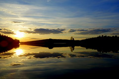 Reflections (brittajohansson) Tags: trees sunset sky cloud lake water reflections landscape outdoor calm serene waterscape