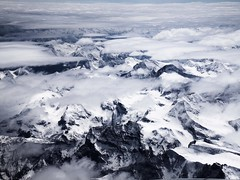Flying back home. (Marythere *on/off*) Tags: sky mountain snow alps clouds airplane fromabove