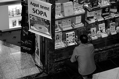 I am very hungry . . . (MBohrer Photos) Tags: street people bw shopping soup gente comida books hungry sopa pretoebranco fome
