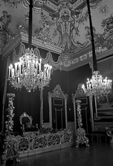 Palazzo Real throne room (PhillMono) Tags: travel light italy white black reflection art heritage history monochrome sepia architecture real grey nikon king room royal palace tourist chandelier genoa shade dslr palazzo renaissance throne d7100