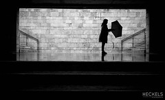 Classic Lisbon (gheckels) Tags: urban bw streetart black classic monochrome lady umbrella 35mm subway blackwhite europe noir lisboa lisbon candid streetphotography rainy sillouette bnw rainydays carlzeiss sonyimages sonya7rii heckelsphotography