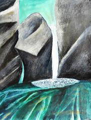 Mixed Media Painting of Little Qualicum Falls on Vancouver Island (elizabatz.jensen) Tags: texture waterfall media rocks acrylic mixedmedia falls vancouverisland qualicum rockformations littlequalicumfalls