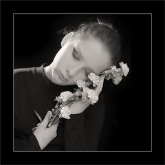 Beautiful Today and Every Tomorrow My Child (Michael Patnode) Tags: flowers portrait blackandwhite bw girl monochrome photoshop kid mikepatnode nikond300s