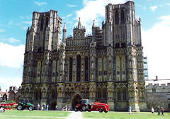 Wells.  June 21st. 1998 (Cynthia of Harborough) Tags: people art architecture towers cathedrals 1998 tractors