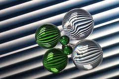 Refraction (Karen_Chappell) Tags: blue stilllife white 3 abstract green glass lines ball circle three angle stripes stripe orb line diagonal sphere round refraction tilt