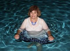 Swimming with Jewelry, 15 (clarkfred33) Tags: water senior pool swim necklace swimmingpool wade swimwear blueandwhite ttd wetlook wetfun wetclothes wetblouse wetwoman trashthedress senioradventure wetjewelry wetadventure