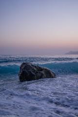 Stone on a seashore (aleksey_kondratiev) Tags: turkey fethiye oludeniz mediterranean sea water blue wave waves seashore rocks sky sunset