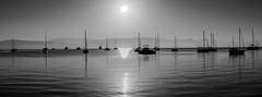 Garitsa Corfu (Panagiotis Pagratis) Tags: sea blackandwhite 50mm boat blackwhite nikon panoramic d750 nikkor corfu monocrome 18g