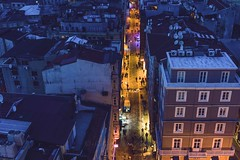 Main street (Syahrel Azha Hashim) Tags: street city travel light vacation people holiday detail building colors architecture night 35mm buildings turkey walking prime colorful cityscape dof view nightshot streetlights getaway sony details crowd scenic streetphotography naturallight pedestrian istanbul handheld bluehour shallow simple cramped crowded dense highview 2016 highdensity a7ii colorimage sonya7 syahrel highlypopulated ilce7m2