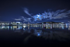 Oslo Opera house and Barcode (cpphotofinish) Tags: ocean travel blue light sky urban panorama color colour fall water yellow oslo norway night clouds canon landscape outside eos bay norge photo reflex opera cityscape foto nightshot image harbour outdoor mark tourist panoramic norwegian nightlight fjord nordic usm dslr havn bilder vann oslofjord bluelight kaia oslofjorden hst landskap bilde norske farger mk3 turist osloharbour operaen snhetta f28l vippetangen canonef bjrvika visitnorway oslooperahouse ef14mmf28lusm carstenpedersen canonmkiii mklll ef14mm eos5dmk3 oslobay cpphotofinish canonredlable oslonorgenorwayvinterwintersunsetgrassgresscanoncanon5dmkiiimk324105christmasxmasromjulafternoonshadowlightsunlightlightroom dslroslofjordfjord