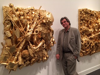 Artist Peter Studl at the Bass museum's Gold exhibition