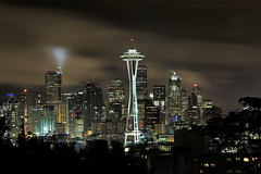 Rain Storm Over Seattle (Andrew Louie Photography) Tags: seattle city morning storm tower coffee rain night umbrella photography early october cityscape power space landmark observatory starbucks needle emeral