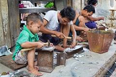 2014Jul28  Like Father, Like Son. (gerardcaffreys Images) Tags: boy man hammer father son metalwork likefatherlikeson bonding